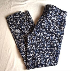 Gap Pants Skinny Ankle Navy White Floral Stretch 6